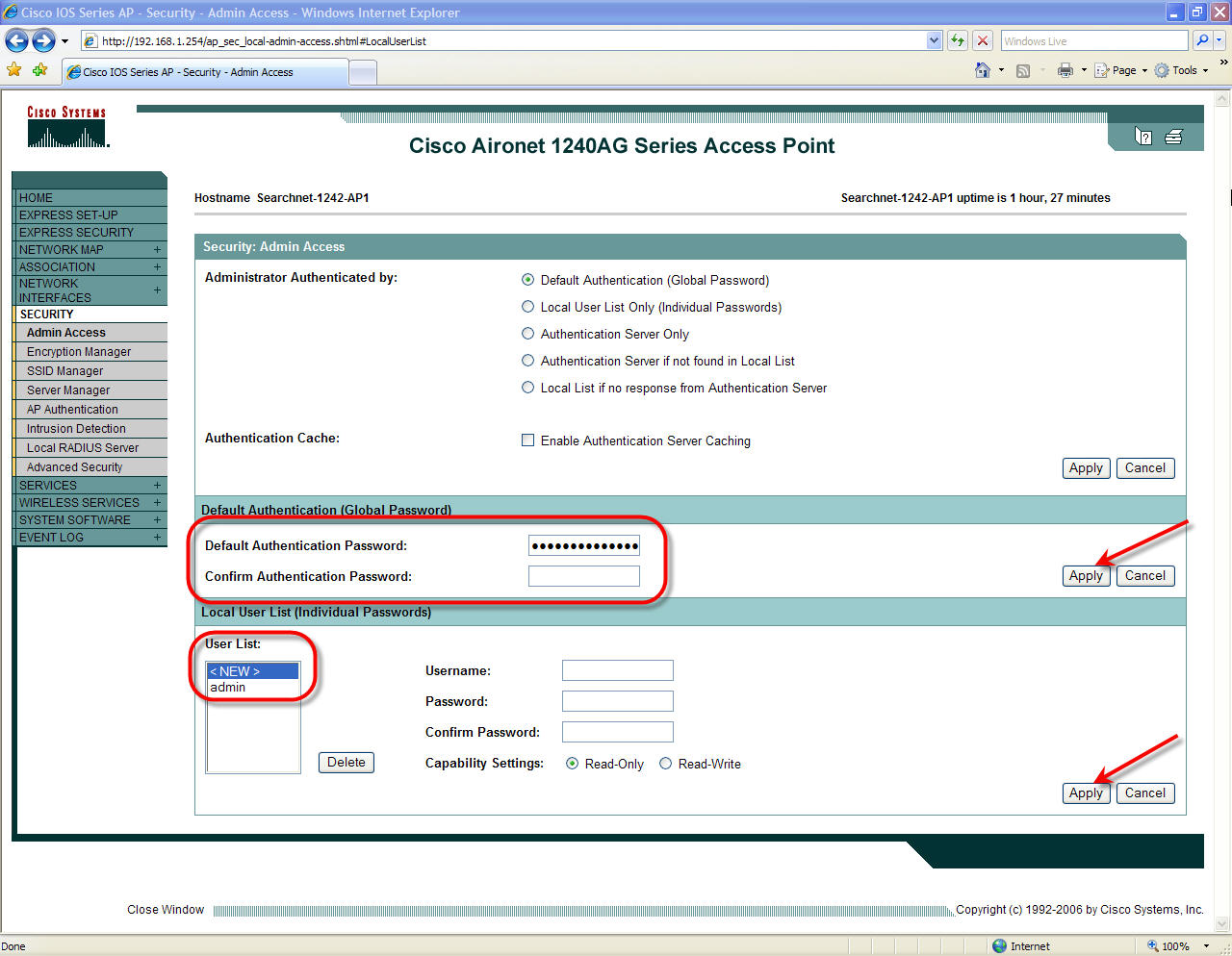 Cisco 1242 Setup Web Interface