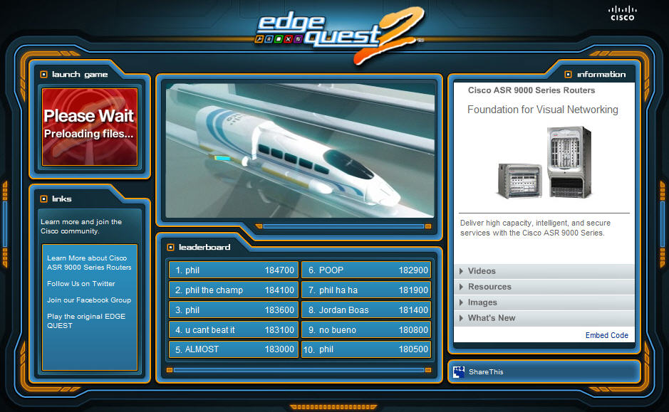 Cisco EdgeQuest 2 Facebook App and Game